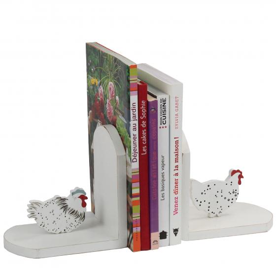 2 Serre-livres en bois peint en blanc avec poules