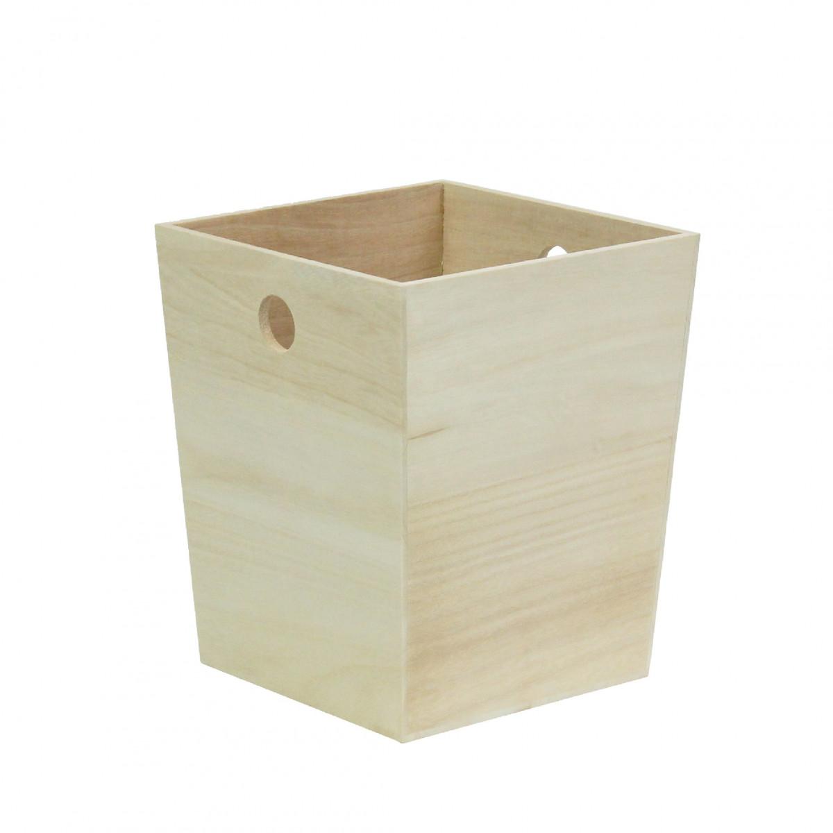 Petite corbeille papier en bois blanc for Corbeille en bois flotte