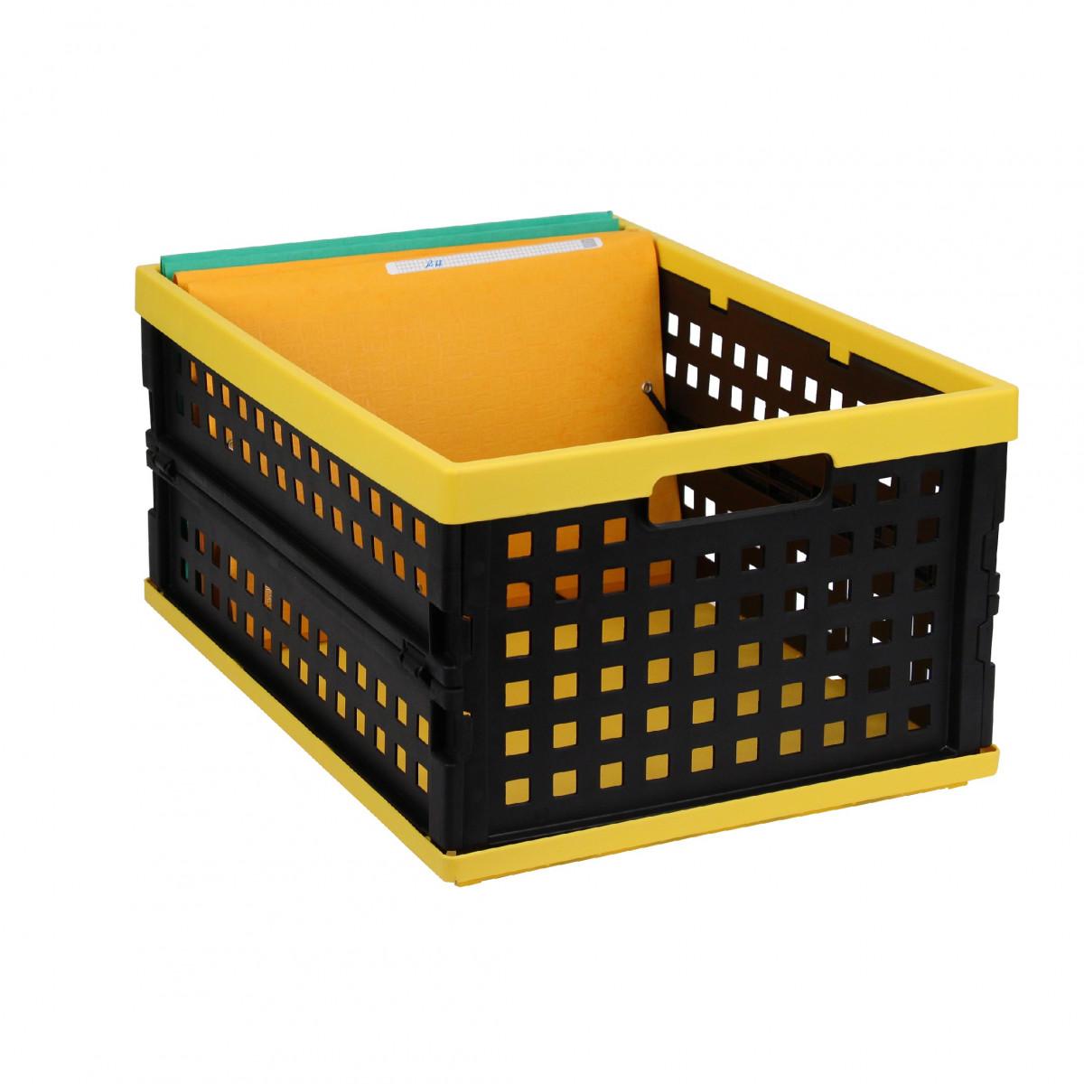 cagette empilable et pliable noire et jaune rangement. Black Bedroom Furniture Sets. Home Design Ideas