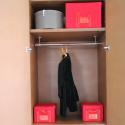 Boîte de rangement en tissu kaki avec armature L