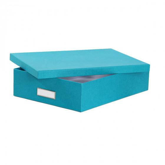 bo te de rangement a4 en carton turquoise rangement bureau. Black Bedroom Furniture Sets. Home Design Ideas