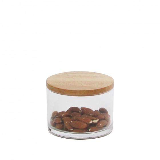 bocal transparent en acrylique avec couvercle en bois. Black Bedroom Furniture Sets. Home Design Ideas
