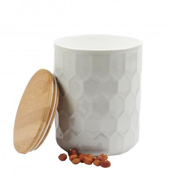 Pot en porcelaine gris clair avec un couvercle hermétique en bambou. taille L