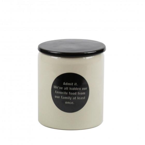 Pot en céramique crème avec pastille et couvercle noirs