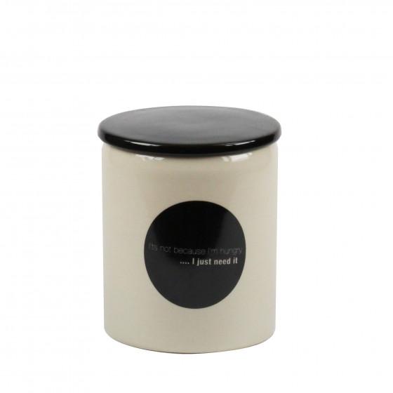 """Pot en céramique crème avec couvercle noir et pastille  """"I just need it"""""""