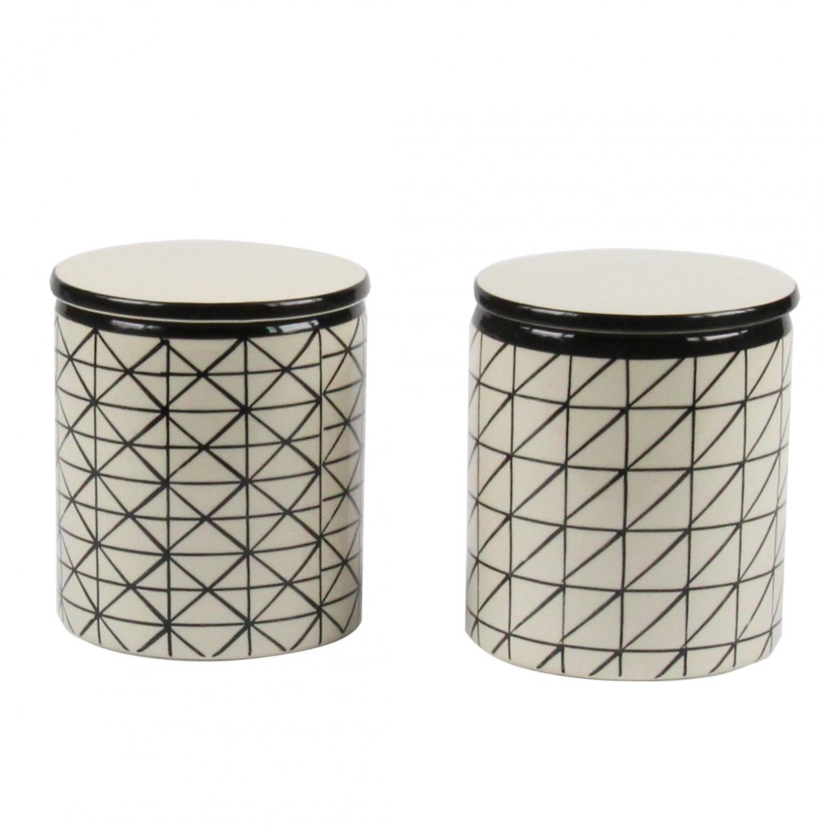 Pot c ramique motifs graphiques rangement for Pot rangement salle de bain