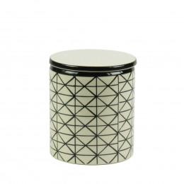 Pot en céramique crème à losanges noirs et couvercle