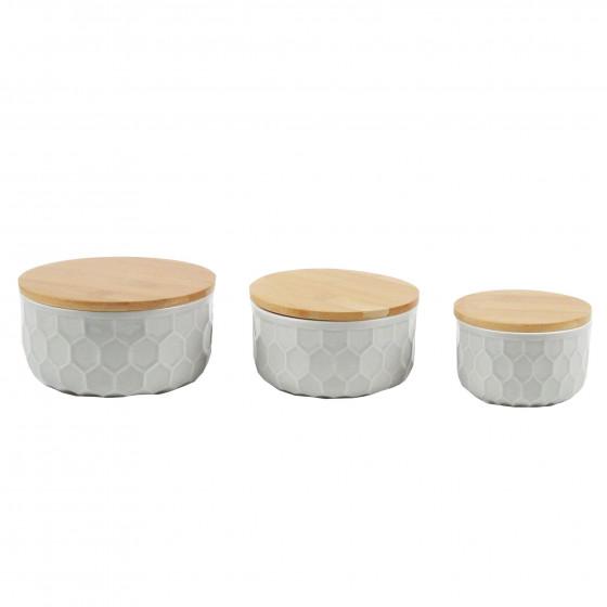 Large pot en porcelaine gris clair et couvercle en bambou. taille M