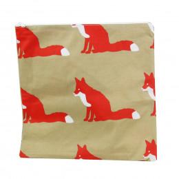 Grande pochette carrée en tissu enduit beige avec des renards orange