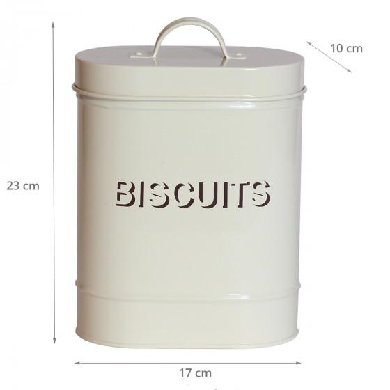 Boîte à biscuits ovale en métal crème