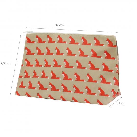 Trousse de toilette en tissu enduit beige avec des renards orange