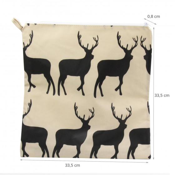 Grande pochette en tissu enduit crème avec des cerfs noirs