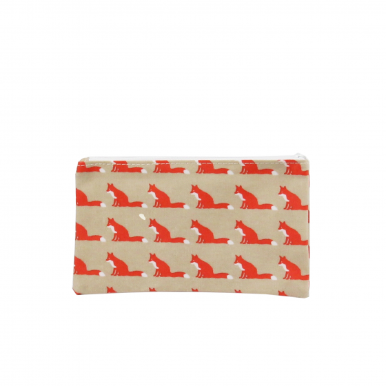 Pochette en tissu enduit beige avec des renards oranges