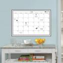 Feuille adhésive blanche avec planning mensuel repositionnable et effaçable à sec