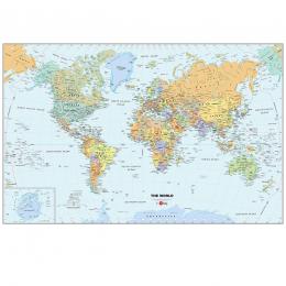 Carte du monde adhésive repositionnable et effaçable à sec