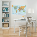 Poster carte du monde adhésif repositionnable et effaçable à sec