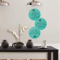 3 stickers ronds et bleus calypso repositionnables et effaçables à sec