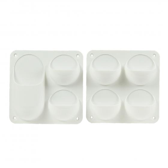 2 Organisateurs muraux en plastique blanc avec 4 compartiments