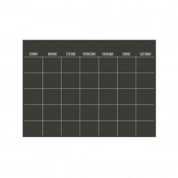 Feuille adhésive noire avec planning mensuel repositionnable et effaçable à sec