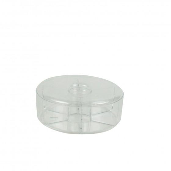 Boîte ronde à 6 compartiments en acrylique transparent