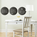 3 stickers ardoise muraux ronds et noirs repositionnables et effaçables