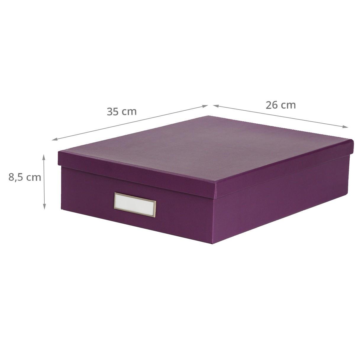 Bo te de classement a4 en carton violet rangement bureau for Boite de rangement papier bureau
