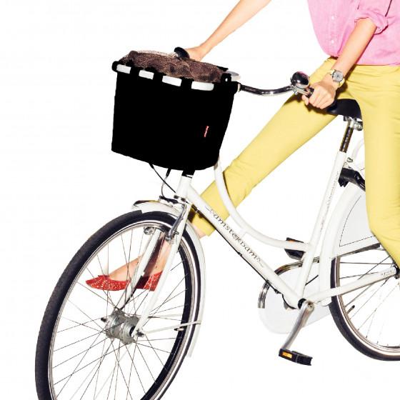 Panier à vélo en tissu noir avec poignée rabattable