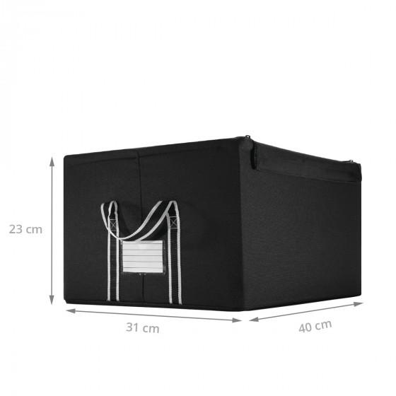 Boîte de rangement en tissu noir avec armature M