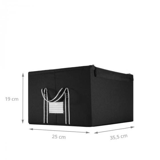 Boîte de rangement en tissu noir avec armature S