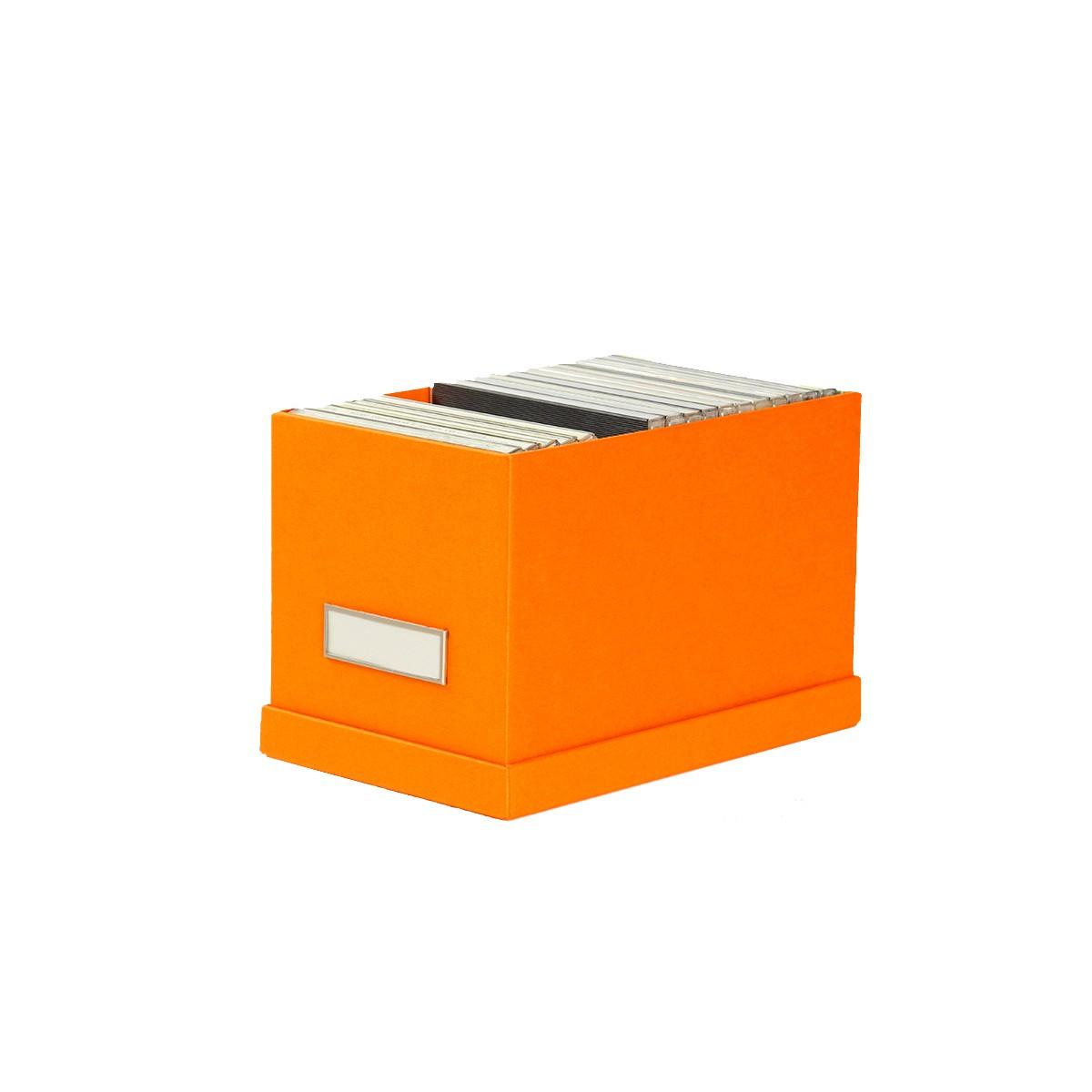 bo te de rangement cd en carton orange. Black Bedroom Furniture Sets. Home Design Ideas