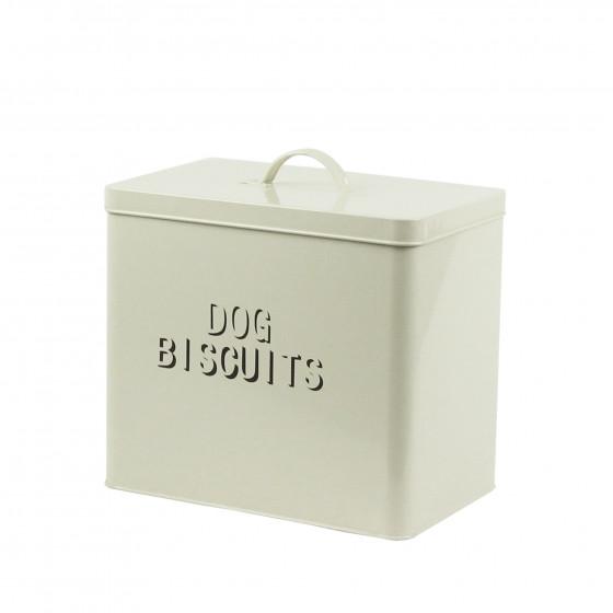 Boîte à biscuits pour chien en métal crème (Taille M)