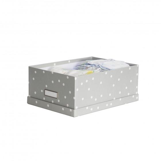 bo te de rangement carton gris pois blancs univers b b. Black Bedroom Furniture Sets. Home Design Ideas