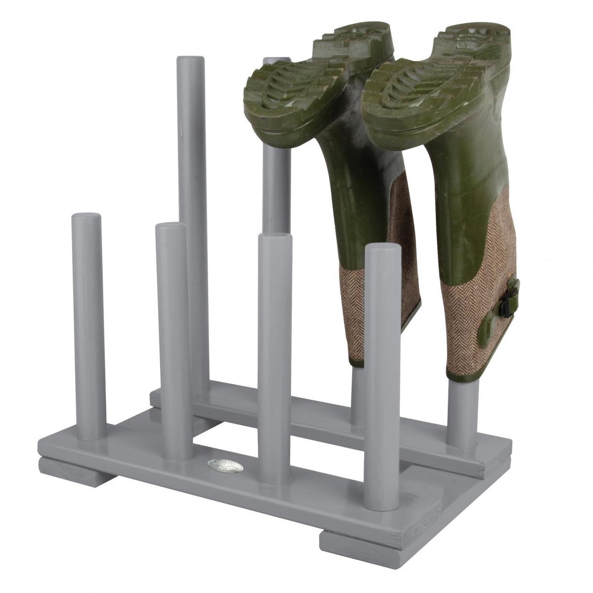 Range bottes de jardin bois gris - Rangement chaussures en bois ...