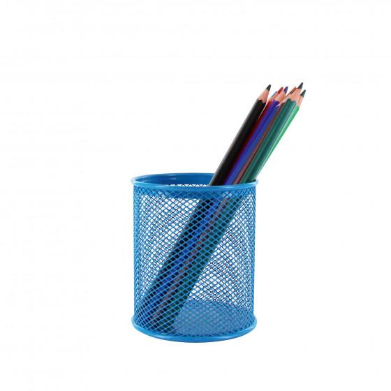 Pot à crayons en maille métallique bleu foncé