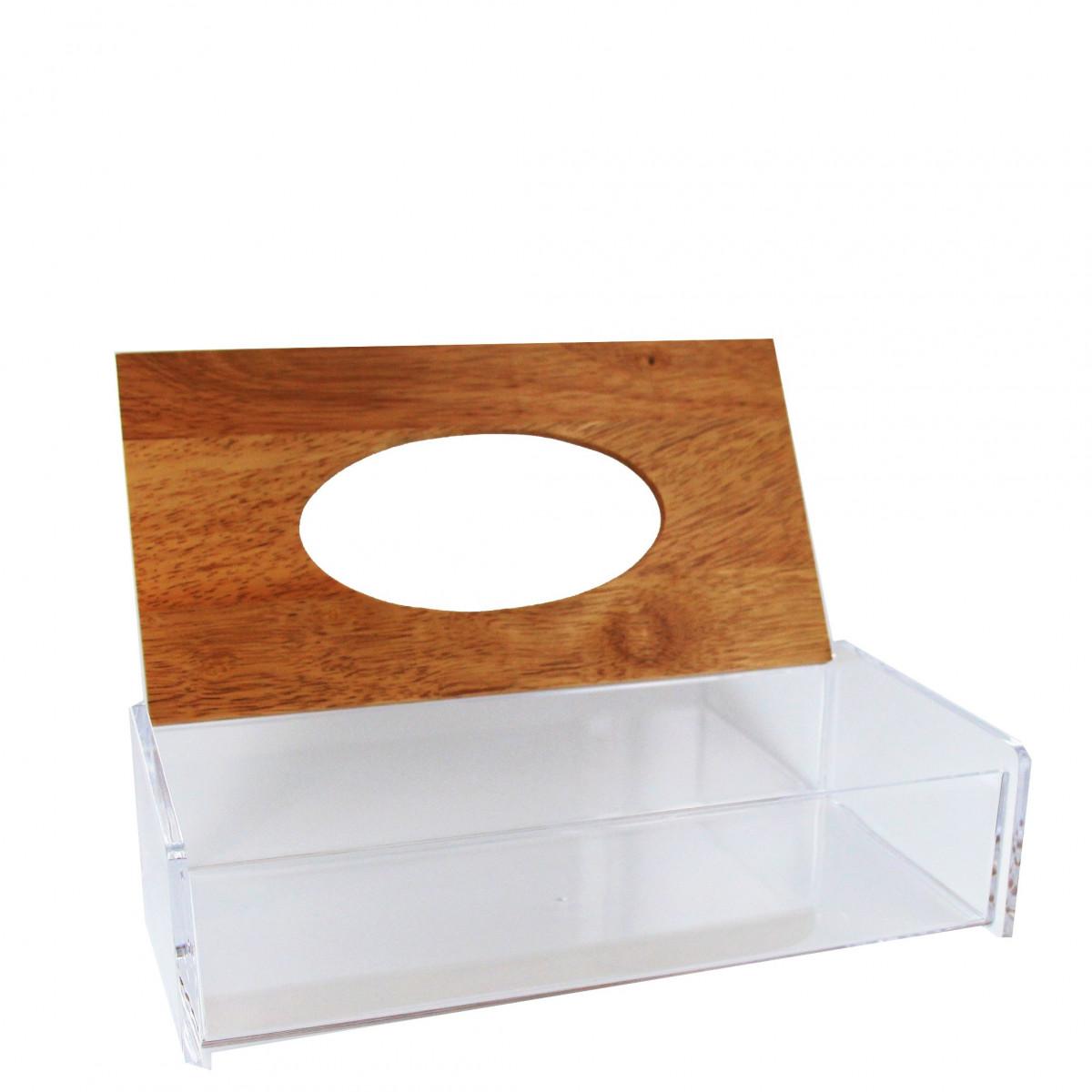 Bo te range mouchoirs transparente avec couvercle en bambou - Boite acrylique transparente ...