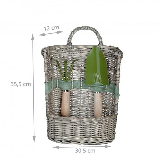 Panier à outils de jardin en osier avec bêche et griffe