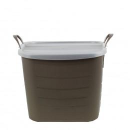 Bac de rangement avec couvercle en plastique souple taupe