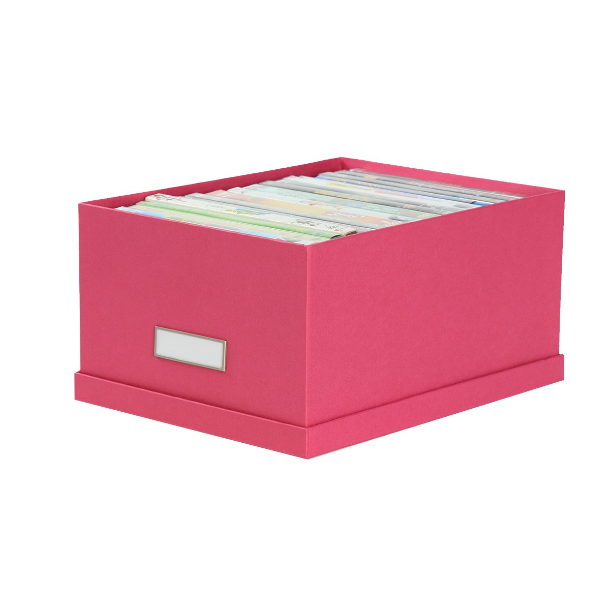bo te de rangement dvd en carton fuchsia. Black Bedroom Furniture Sets. Home Design Ideas