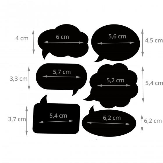 24 étiquettes ardoise autocollantes en forme de bulles