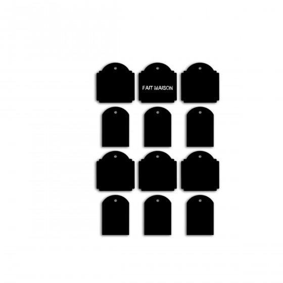 12 étiquettes à suspendre en ardoise cartonnée