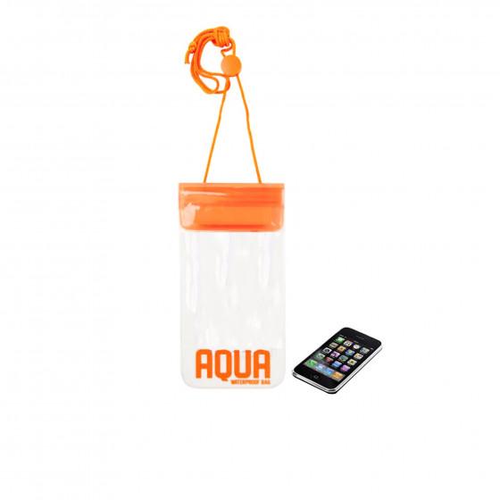 Pochette imperméable transparente avec cordon orange