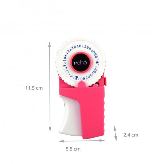 Etiqueteuse rose avec un rouleau noir