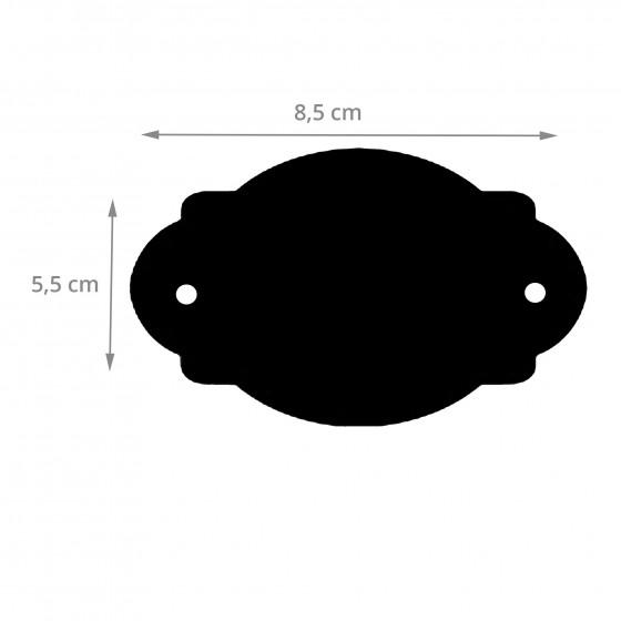 12 étiquettes ovales noires en carton ardoise perforé