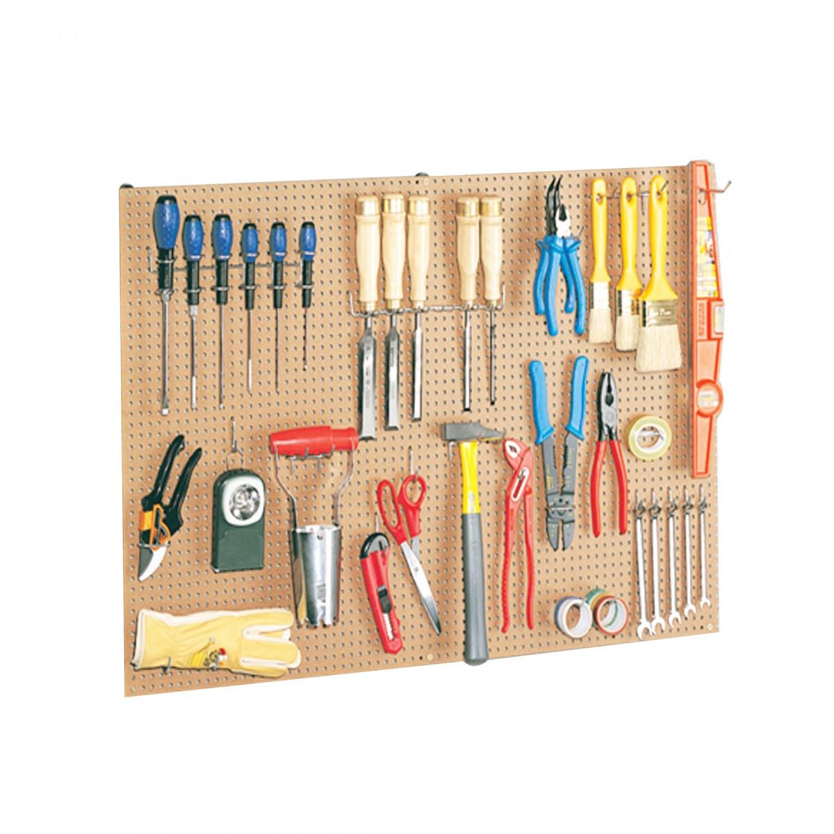 panneau perfor bois crochets rangement outils. Black Bedroom Furniture Sets. Home Design Ideas