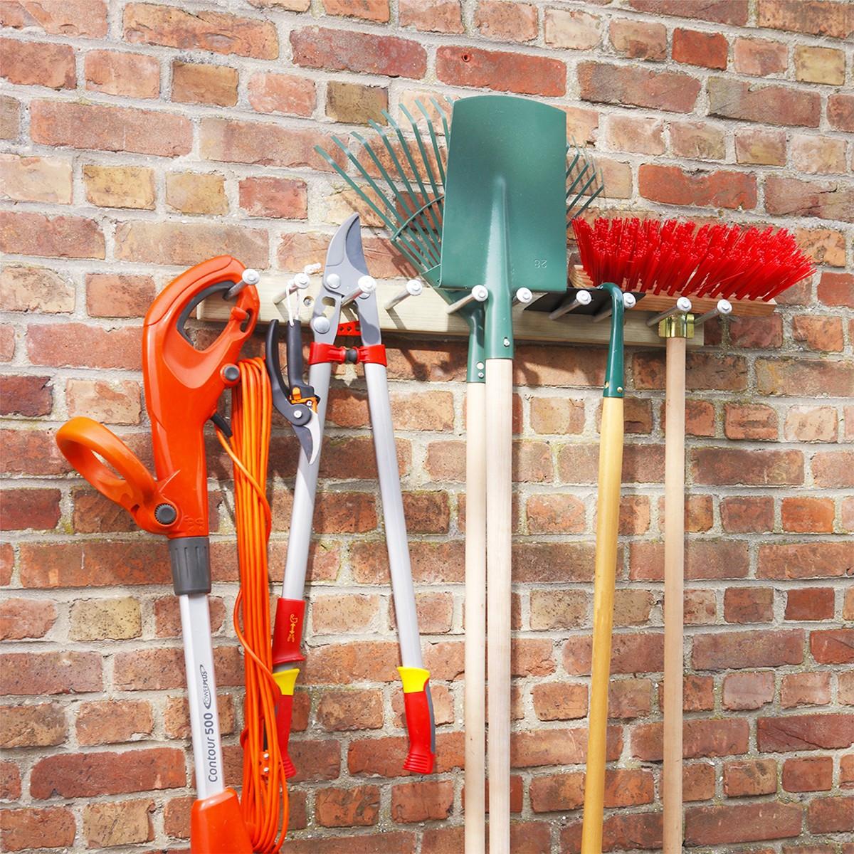 Porte outils jardin bois rangement outils for Porte de jardin