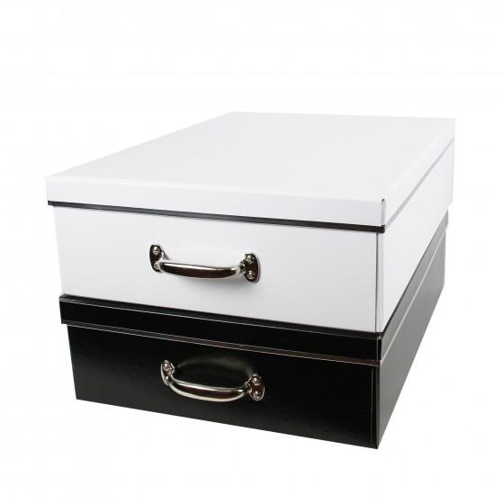 Boîte sous le lit en carton recyclé noir avec poignée métallique