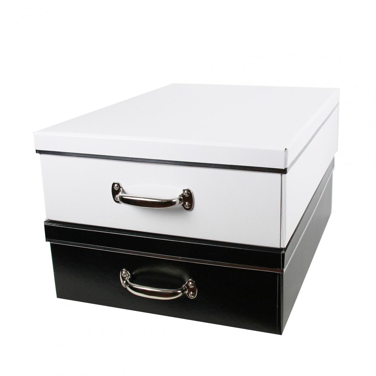 Bo te en carton noir rangement sous le lit - Boite de rangement sous le lit ...