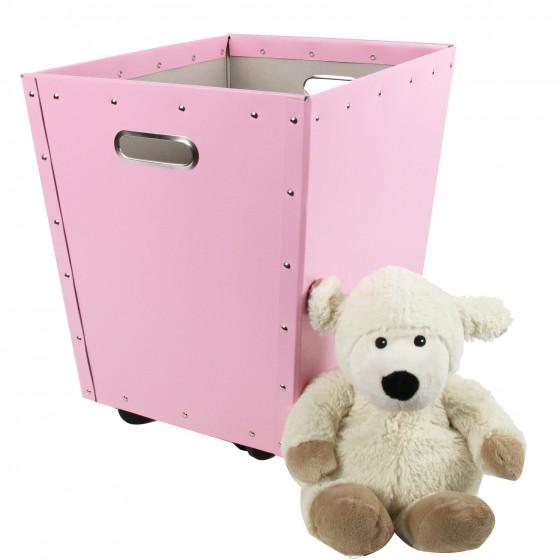 Bac de rangement à roulettes en carton rose
