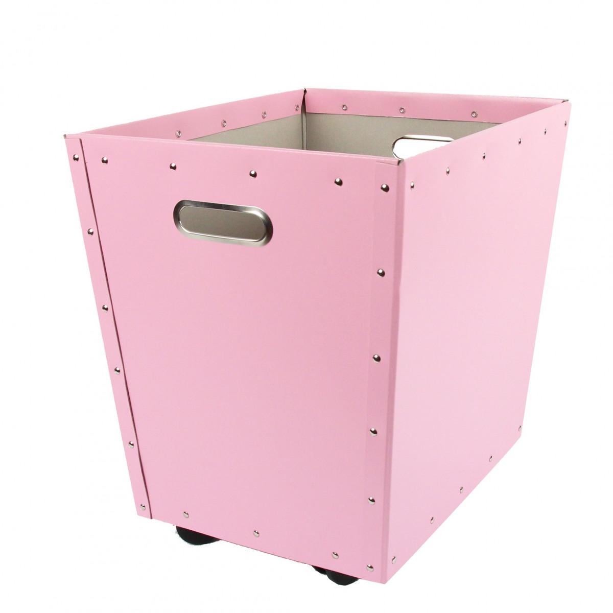 bac de rangement roulettes en carton rose. Black Bedroom Furniture Sets. Home Design Ideas