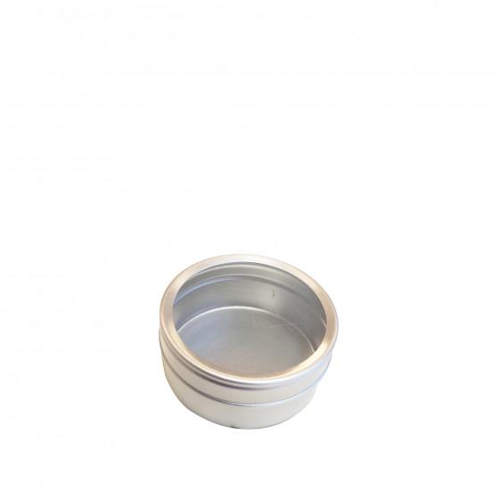 Petite boîte métallique ronde avec fenêtre transparente